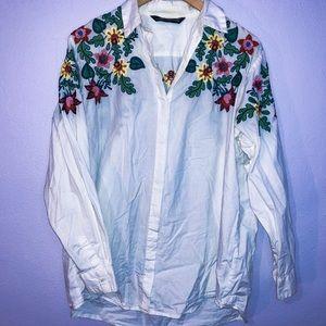 ZARA Women's Button Down Floral Embroidered Shirt